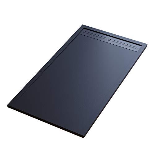 Essence ArredoBagno Plato de ducha Mineralmármol efecto piedra pizarra – Modelo Sun – mármol de resina con gel – Rejilla lateral de acero inoxidable de color negro – 70 x 130 cm