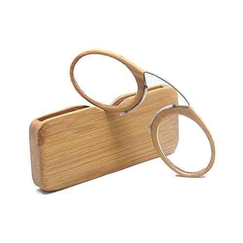 Henghao 携帯用 超軽量竹製 老眼鏡 手作りシニアグラス おしゃれ リーディンググラス 専用ケース付 H6037 (竹色, +1.00)