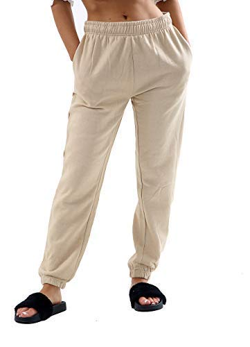 Générique Obtenez Le Tendance Femmes Basique Pull Jogging Femmes Doublure Polaire Brossé Pantalon Survêtement Pantalons Neufs - Écru, XL UK 14