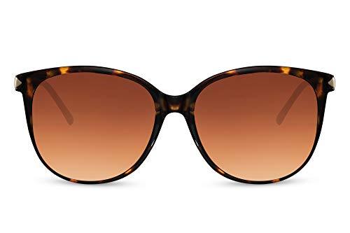 Cheapass Sunglasses Lentes de sol con montura de leopardo brillante con lentes marrones degradados y patillas de metal dorado Clásico elegante Vintage mariposa con protección UV400 para mujer