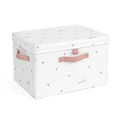 Lindo estilo moderno herramientas para el hogar, ropa interior, calcetines, caja organizadora de almacenamiento para dormitorio, tela Oxford, contenedor S, color blanco y rosa
