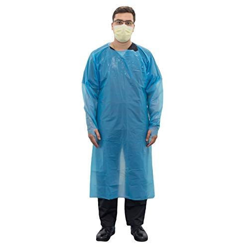 Disposable Isolation Gown, PPE, Chlorinated Polyethylene (CPE) Material, Blue, Universal Size, Pack of 20 Pcs