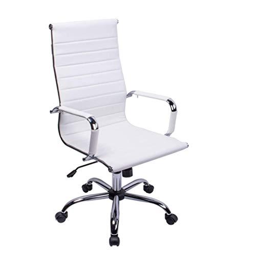 LYLY Bürostuhl / Bürostuhl mit gebogener Rückenlehne, PU-Leder, ergonomischer Computerstuhl, höhenverstellbar, um 360° drehbar, Schwarz (Farbe: Weiß)