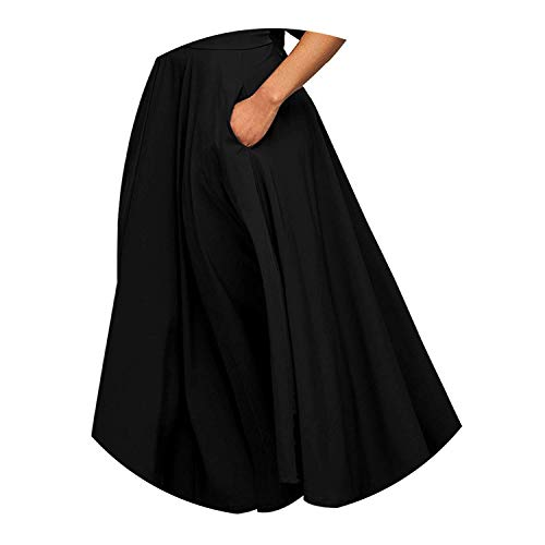 Henraly Dress with Pocket Cotton Ankle-Length Back Bow Tie Skirt,Large,Black