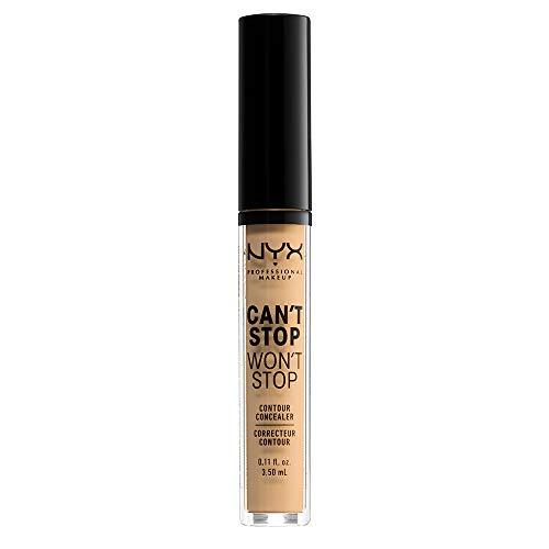 NYX Professional Makeup Correttore Can't Stop Won't Stop, Correttore Viso Liquido, Adatto a Tutti gli Incarnati, True Beige, Confezione da 1