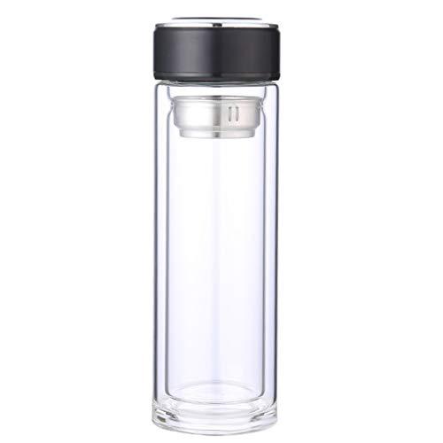 Guangcailun 320ML Hoch Borosilicatglas Wasserflasche mit Filter Double Layer Heat Resistant Tee Kaffee Flasche
