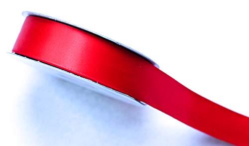 CaPiSo Ruban de satin brillant double face de qualité supérieure - Rouge - 25 m x 40 mm