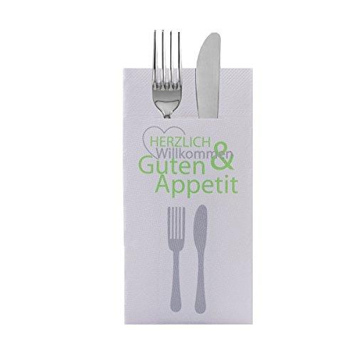 Sovie HORECA Besteckserviette Herzlich Willkommen | Tissue Deluxe® 4-lagig 40x40 cm | Gastronomie Restaurant Hotel | 100 Stück Grün