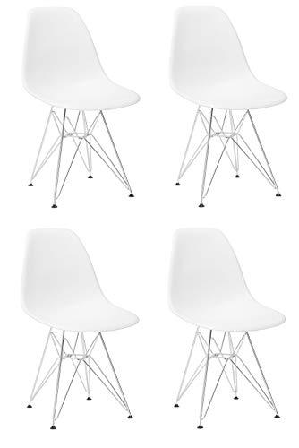 Silla de comedor de plástico moldeado con base de metal y patas de acero para sala de estar, dormitorio, sala de espera, oficina, café, recepción, set de 4 (blanco)