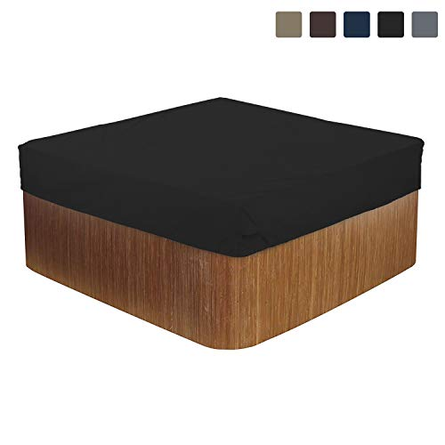 Hot Tub Cover/Spa Cover 12 Oz Waterproof - 100% UV & Weather Resistant Outdoor Cover with Air Pockets and Drawstring for Snug Fit (85 W x 85 D x 14 H, Black)