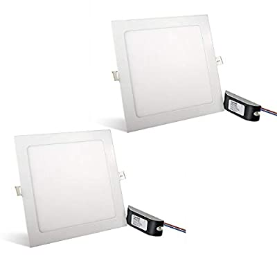 Rekabel 18W LED Square Panel Nature White Bright Light Nature White LED Recessed Ceiling Lights for Home Office Commercial Lighting(2 Pack)