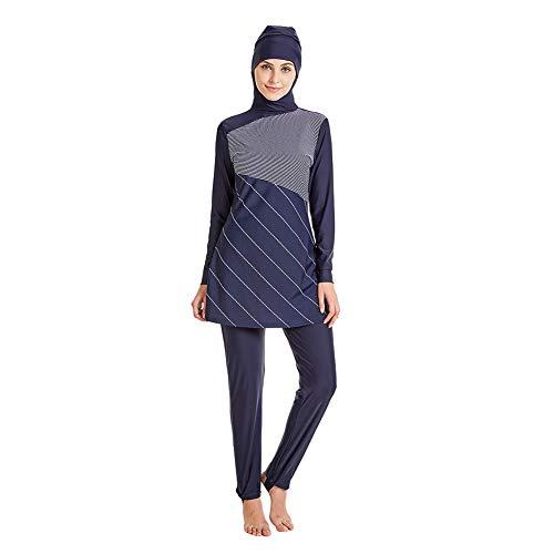 Meijunter Bañador Musulmán para Mujer Modesto - Traje de Baño UPF 50+ Conjunto de Manga Larga Hijab Cobertura Completa Traje de Surf Elástico Burkini Rápidamente Ropa de Playa Empalme