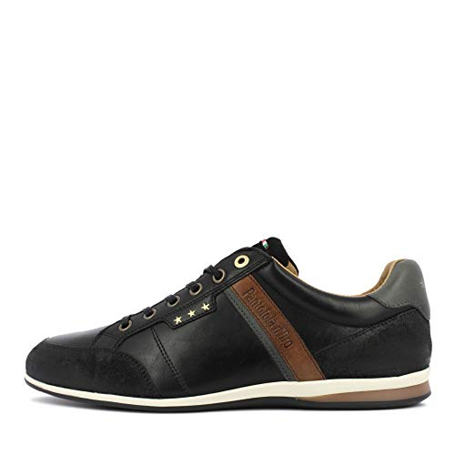 Pantofola d'Oro Roma Uomo Low XL Sneaker in Übergrößen Herrenschuhe, Schwarz-46 EU
