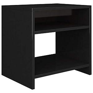 vidaXL - Mesita de noche para dormitorio, mesa auxiliar, mesa de teléfono, color negro brillante, 40 x 30 x 40 cm, tablero aglomerado
