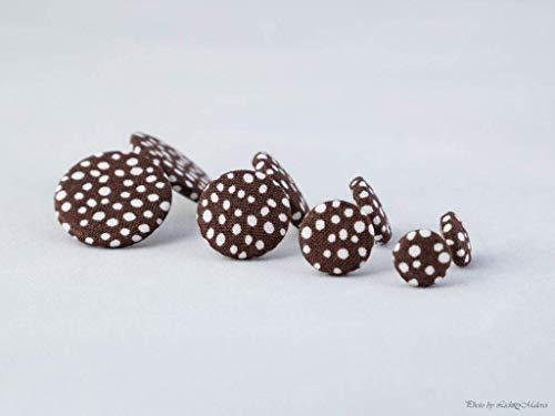 braun weiß Punkte gepunktet Ohrstecker - 1 Paar - Ohrringe Stoff Ohrstecker Stoffohrringe Stoffohrstecker MotleyBees Motley Bees