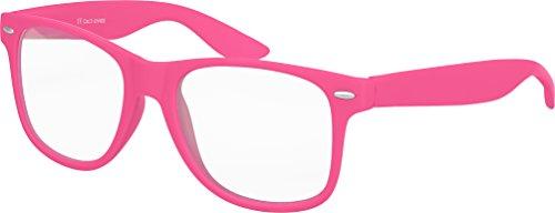 Balinco Hochwertige Nerd Sonnenbrille mit Klarglas matte Rubber Retro Vintage Unisex Brille mit Federscharnier - 17 verschiedene Farben/Modelle wählbar (Pink)