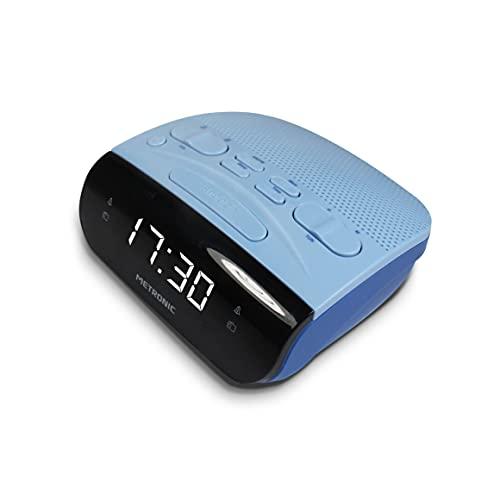Metronic 477033 Radio Réveil Double Alarmes Tuner AM/FM et Fonctions Sleep/Snooze, Piles de Sauvegarde de l'heure, mémoire 10 AM + 10 FM - Gris Bleu