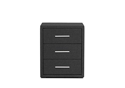 Betten Jumbo King Nachttisch mit 3 Schubladen | Stoffbezug in Anthrazit | Edler Nachtschrank | Perfekt für Boxspringbetten | Maße: 57x50x40 cm