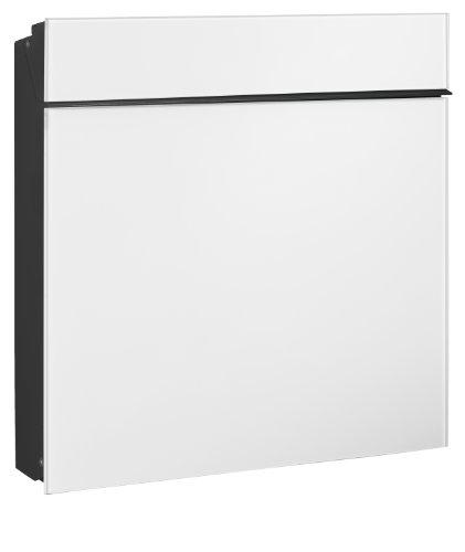 Serafini Briefkasten Flat Wide Stahl schwarz/Front Glas verkehrsweiß 42,1 x 42,2 x 9,4 cm