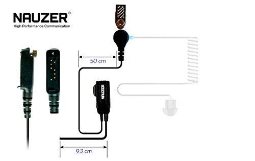 NAUZER Pin 39-SP3 Micro-Auricular Tubular Profesional con PTT Especial para ambientes ruidosos, Uso Militar, Seguridad o Industrial para Compatible con los Walkies SEPURA STP800