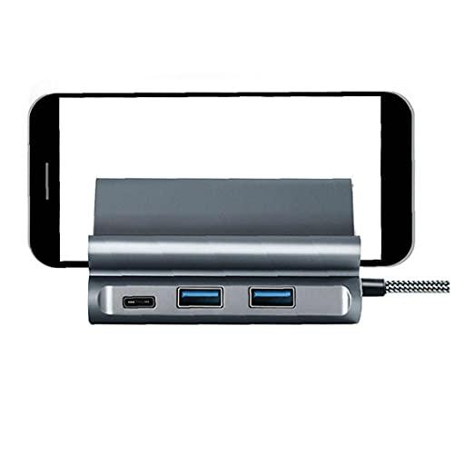 MaylFre Tipo C HUB USB Docking estación Tarjeta de Red Tarjeta de Lector HD PD Adaptador de Corriente Base Vertical con Soporte Negro Usado en la Vida Diaria de Interior y Exterior
