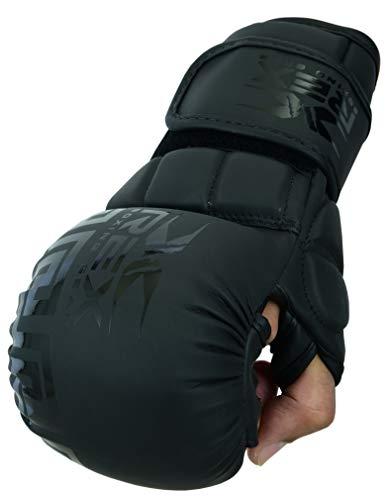 Rex Sports Boxing Wear MMA Handschuhe, Muay Thai Handschuhe, Boxhandschuhe für Sparring, UFC, Cage Fighting, Trainingshandschuhe (Schwarz, L)