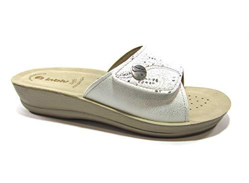 inblu VR000057 Bianco Ciabatte Donna Strappo Regolabile Sottopiede ANATOMICO Soft Zeppa 3 CM Bianco 39