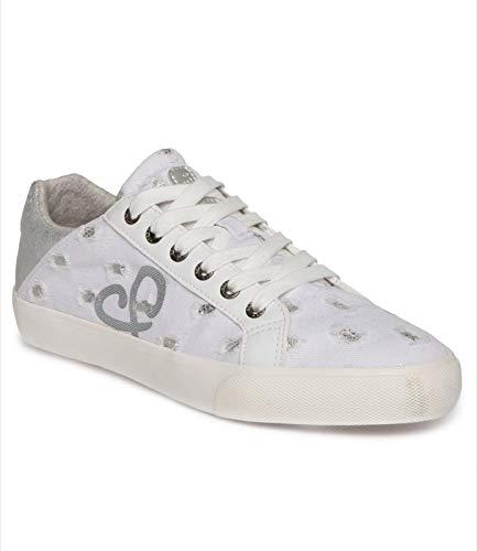 SOCCX Damen Denim Sneaker Low mit Glitzer-Details
