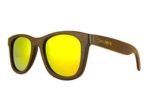 Okulars® Dark Bamboo - Gafas de Sol de Madera para Hombre & Mujer, Hecho a Mano - Talla única - Polarizadas Espejo Lentes - Protección UV400 - Cat.3 (Oro)