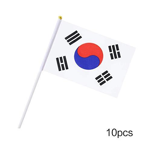 Lunji. 10 kleine Flaggen – Welt-Flaggen für Dekoration, Mahlzeiten zum Thema Geburtstag, Weltmeisterschaft, Hochzeit, Abendveranstaltungen, Korea, one Size