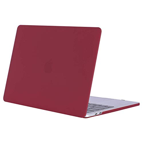 MOSISO MacBook Pro 15 Case 2019 2018 2017 2016 Release A1990 A1707, Plastic Hard Case Shell Cover Compatible with Macbook Pro 15 Inch with Touch Bar and Touch ID, Wine Red
