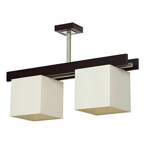 Elegante lámpara de techo en color wengué Beige Bauhaus 2 x E27 hasta 60 W 230 V de tela tejida y metal para cocina comedor