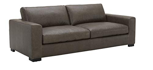 "Amazon Brand - Stone & Beam Westview Extra-Deep Down-Filled Leather Sofa Couch, 89""W, Dark Grey"