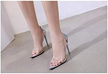 Fashion wonderland Crystal Transparent Pointed high Heels Color Matching Shallow Mouth Stiletto Shoes