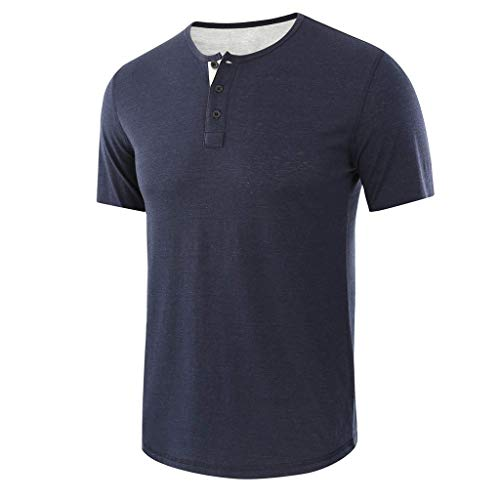 TOPUNDER Fashion Men's Baggy Solid Short Sleeve Button O-Neck T Shirts Tops Blouses Dark Blue
