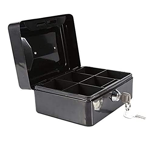 Milkvetch Caja de Efectivo PequeeA y Segura con Cerradura de Llave Caja de Metal de Almacenamiento PortáTil Caja de Monedas con Cierre para Organizar Monedas, Cheques, Objetos de Valor