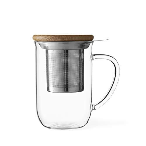Viva Scandinavia Tasse à thé en Verre Borosilicate avec Couvercle en Bois, Tasse avec infuseur Amovible en Acier Inoxydable, thé en Vrac, thé à Feuilles 0.5 L