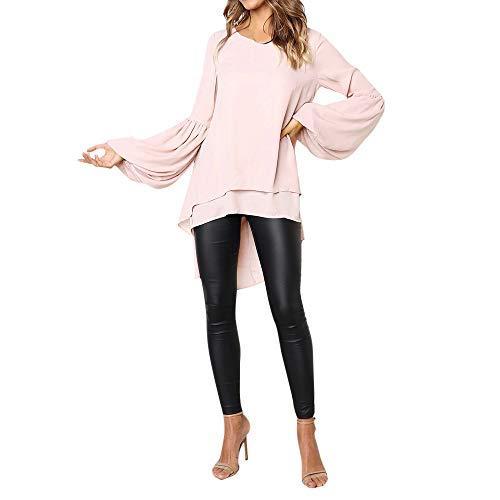 Mode Femme Casual Couleur Unie Col Rond Asymétrique Ourlet Manchon de Cloche Slim Chic Tricoté Pullover T Shirt Tops Simple Blouse Long Robe en Vrac feiXIANG (Rose,XL)
