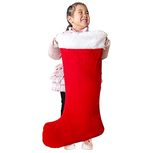 Giant Christmas Stocking - XL Christmas Stockings for Kids and Adults - Soft Big Xmas Stocking fits Most Stocking Holders - Fillable Extra Large Christmas Stocking Red Velvet Christmas Stocking