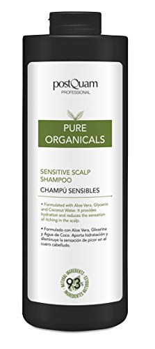 PostQuam Organicals - Champu Cuero Cabelludo Sensible | Champu Suave - Aloe Vera, Glicerina, Agua de Coco - 93% Ingredientes Naturales, 1000 ml