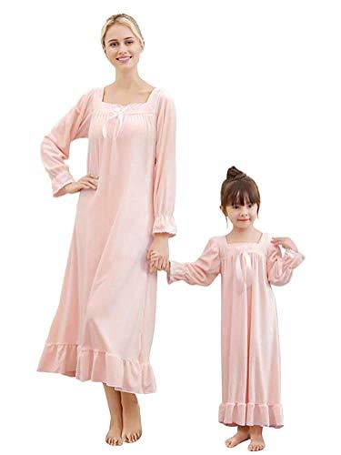 Minetom Damen Mädchen Nachthemd Langarm Pyjama Herbst Winter Weich Kleid Mütter Tochter Bowknot Große Größen Schlafkleid Viktorianischer Stil Prinzessin Nachtkleid Rosa 130 (Mädchen)