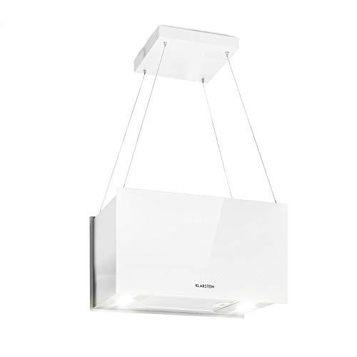 Klarstein Kronleuchter - Dunstabzugshaube Deckenhaube Inselabzugshaube, EEK: A, Umluftbetrieb in 3 Stufen, SenseControl: Touch, 58 dB Geräuscharm, 60 cm, weiß
