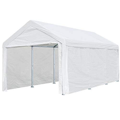 10 x 20 ft Heavy Duty Carport Canopy Car Port Garage Shelter Boat Party Tent, Adjustable Height from 6.5ft to 8.0ft with Removable Sidewalls and Doors, Beige