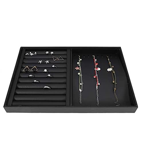 Vitrina de joyería simple y elegante, bandeja de exhibición de joyería, para boutiques, joyerías(Black (dual-purpose plate))
