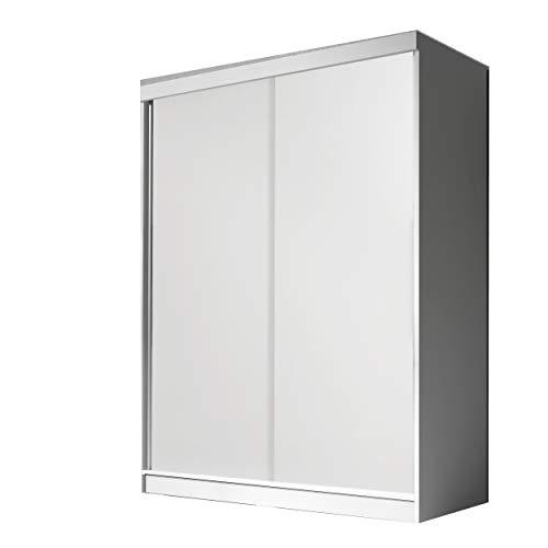 mb-moebel Moderner und funktionaler SchiebetürenSchrank Kleiderschrank Schrank Garderobe Zweitürenschrank Schwebetüren 2-Türig Schlafzimmerschrank 160 cm Eva (Weiß)