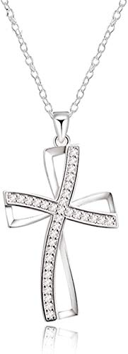 Collar Mujer Collar Hombre Collar 925 Collares de plata para mujer Circón Cruz colgante y collar Collar de cadena para mujer Joyería nupcial para bodas Regalos Colgante Collar Niñas Niños Regalo