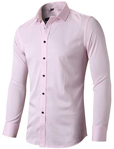 INFlATION Herren Hemd aus Bambusfaser umweltfreudlich Elastisch Slim Fit für Freizeit Business Hochzeit Reine Farbe Hemd Langarm,DE XL (Etikette 43),Rosa