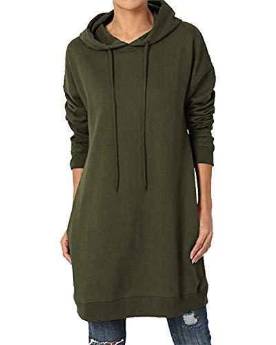 Kidsform Sudadera con Capucha para Mujer Hoodie Mujer Sudadera con Capucha de Otoño Sudadera con Bolsillo Sweatshirt Mujer D-Verde Militar M