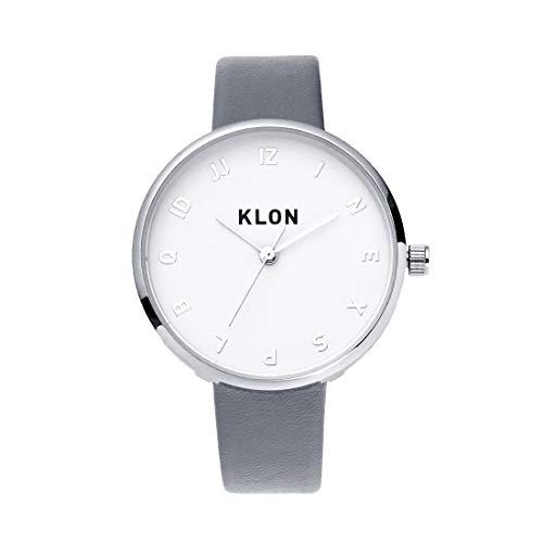 腕時計 メンズ レディース うで時計 時計 グレー 本革 レザー 日本製 クォーツ 防水 ペアウォッチ ペア セット WATCH カップル プレゼント ギフト ユニセックス おしゃれ 人気 ブランド KLON MOCK NUMBER GRAY Ver.SILVER 33mm