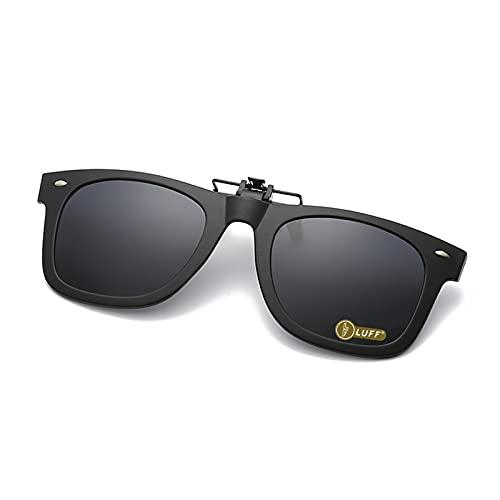 Polarization Clip-On Occhiali da sole Unisex-Elegante e confortevole clip Flip up occhiali da sole miope per Outdoor/guida/pesca (Black)